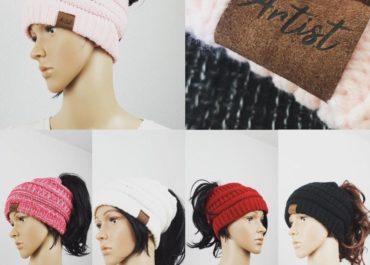 Beanie Mütze mit Loch- modische warme weiche dehnbare Strick Wintermütze