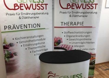 "Messtheke + Rollup Displays- ""Genieß bewusst"""