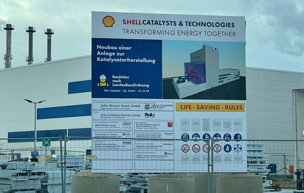 Bauschild Shell Alu -Verbundplatte