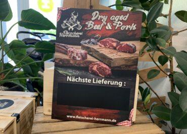 Aluverbundschild// Fleischerei Herrmann dry aged beef & pork Vorbestellungen